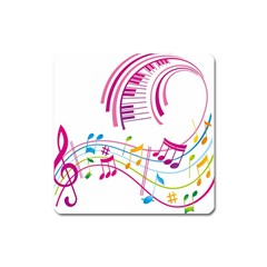 Musical Notes Pink Square Magnet
