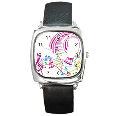 Musical Notes Pink Square Metal Watch
