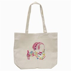 Musical Notes Pink Tote Bag (cream)