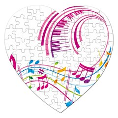 Musical Notes Pink Jigsaw Puzzle (heart) by Alisyart