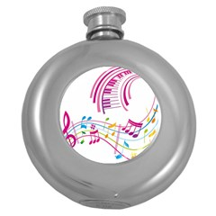 Musical Notes Pink Round Hip Flask (5 Oz)