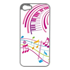 Musical Notes Pink Apple Iphone 5 Case (silver)