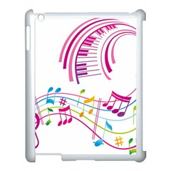 Musical Notes Pink Apple Ipad 3/4 Case (white) by Alisyart