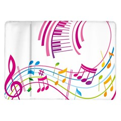 Musical Notes Pink Samsung Galaxy Tab 10 1  P7500 Flip Case
