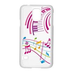 Musical Notes Pink Samsung Galaxy S5 Case (white)