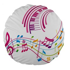 Musical Notes Pink Large 18  Premium Flano Round Cushions