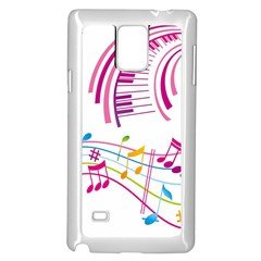 Musical Notes Pink Samsung Galaxy Note 4 Case (white)