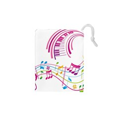 Musical Notes Pink Drawstring Pouches (xs)