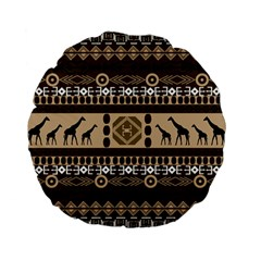 African Vector Patterns  Standard 15  Premium Flano Round Cushions by Amaryn4rt