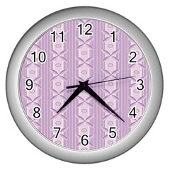 Flower Star Purple Wall Clocks (silver)  by Alisyart