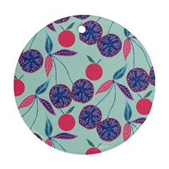Passion Fruit Pink Purple Cerry Blue Leaf Ornament (round) by Alisyart