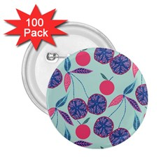 Passion Fruit Pink Purple Cerry Blue Leaf 2 25  Buttons (100 Pack)