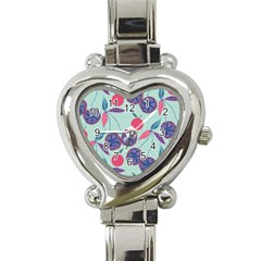 Passion Fruit Pink Purple Cerry Blue Leaf Heart Italian Charm Watch by Alisyart