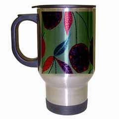 Passion Fruit Pink Purple Cerry Blue Leaf Travel Mug (silver Gray) by Alisyart