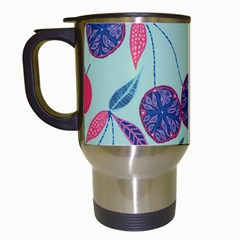 Passion Fruit Pink Purple Cerry Blue Leaf Travel Mugs (white) by Alisyart