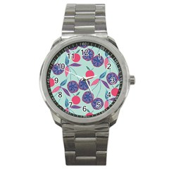 Passion Fruit Pink Purple Cerry Blue Leaf Sport Metal Watch
