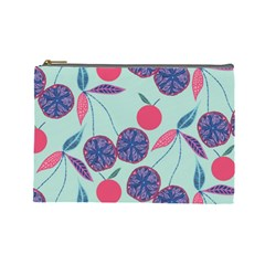Passion Fruit Pink Purple Cerry Blue Leaf Cosmetic Bag (large)  by Alisyart