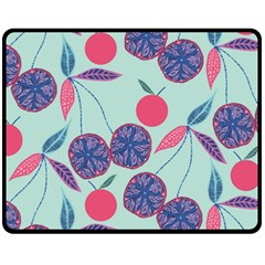 Passion Fruit Pink Purple Cerry Blue Leaf Fleece Blanket (medium)