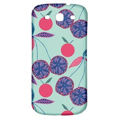 Passion Fruit Pink Purple Cerry Blue Leaf Samsung Galaxy S3 S Iii Classic Hardshell Back Case