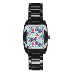Passion Fruit Pink Purple Cerry Blue Leaf Stainless Steel Barrel Watch by Alisyart