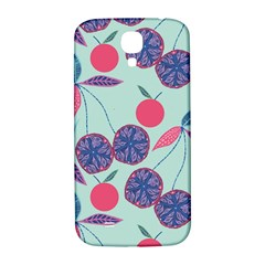 Passion Fruit Pink Purple Cerry Blue Leaf Samsung Galaxy S4 I9500/i9505  Hardshell Back Case