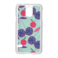 Passion Fruit Pink Purple Cerry Blue Leaf Samsung Galaxy S5 Case (white)