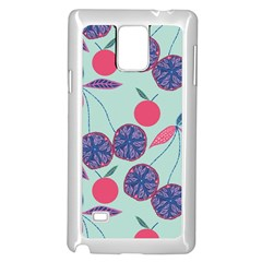 Passion Fruit Pink Purple Cerry Blue Leaf Samsung Galaxy Note 4 Case (white) by Alisyart