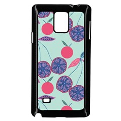 Passion Fruit Pink Purple Cerry Blue Leaf Samsung Galaxy Note 4 Case (black) by Alisyart