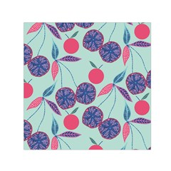 Passion Fruit Pink Purple Cerry Blue Leaf Small Satin Scarf (square)