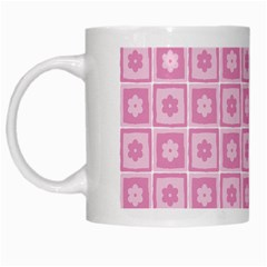 Plaid Floral Flower Pink White Mugs