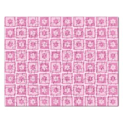 Plaid Floral Flower Pink Rectangular Jigsaw Puzzl by Alisyart