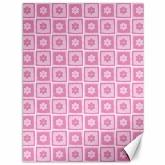 Plaid Floral Flower Pink Canvas 36  X 48   by Alisyart