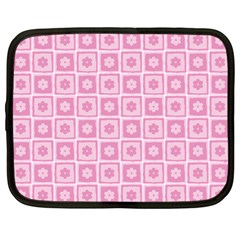 Plaid Floral Flower Pink Netbook Case (large)