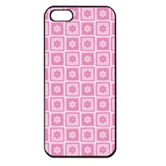 Plaid Floral Flower Pink Apple Iphone 5 Seamless Case (black)