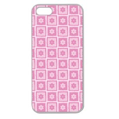 Plaid Floral Flower Pink Apple Seamless Iphone 5 Case (clear)