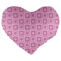 Plaid Floral Flower Pink Large 19  Premium Heart Shape Cushions