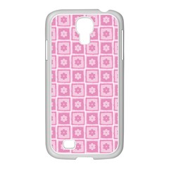 Plaid Floral Flower Pink Samsung Galaxy S4 I9500/ I9505 Case (white) by Alisyart