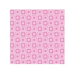 Plaid Floral Flower Pink Small Satin Scarf (square)