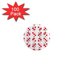 Permutations Dice Plaid Red Green 1  Mini Magnets (100 Pack)  by Alisyart