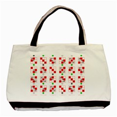 Permutations Dice Plaid Red Green Basic Tote Bag by Alisyart