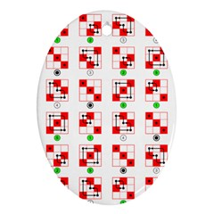 Permutations Dice Plaid Red Green Oval Ornament (two Sides)