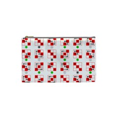 Permutations Dice Plaid Red Green Cosmetic Bag (small)  by Alisyart