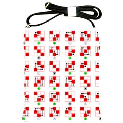 Permutations Dice Plaid Red Green Shoulder Sling Bags