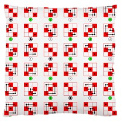 Permutations Dice Plaid Red Green Large Cushion Case (one Side) by Alisyart