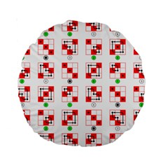 Permutations Dice Plaid Red Green Standard 15  Premium Round Cushions