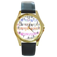 Notes Tone Music Rainbow Color Black Orange Pink Grey Round Gold Metal Watch