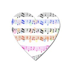 Notes Tone Music Rainbow Color Black Orange Pink Grey Heart Magnet