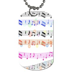 Notes Tone Music Rainbow Color Black Orange Pink Grey Dog Tag (one Side)