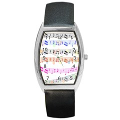 Notes Tone Music Rainbow Color Black Orange Pink Grey Barrel Style Metal Watch