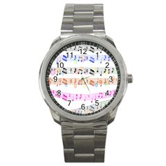 Notes Tone Music Rainbow Color Black Orange Pink Grey Sport Metal Watch
